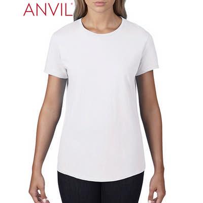 Anvil Womens Black Tee White 790L_WHITE_GILD